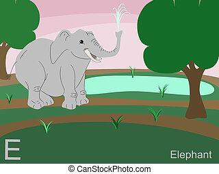 Animal alphabet, E for elephant