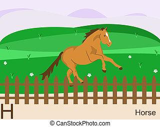 Animal alphabet, H for horse