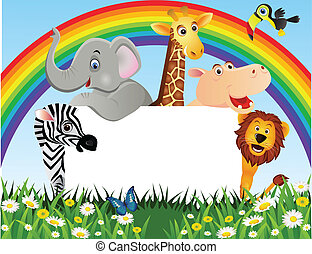 Animal cartoon and white space