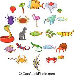 Animal kingdom icons set, cartoon style