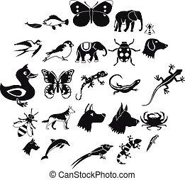 Animal kingdom icons set, simple style