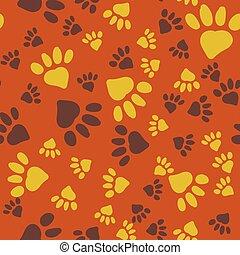 Animal Paw Prints Seamless Background