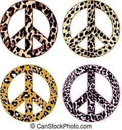 animal skin fur peace sign