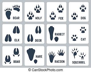 Animal tracks vector icons set