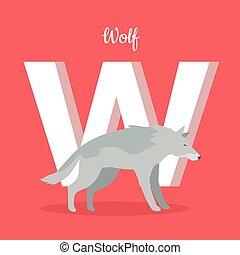 Animals Alphabet. Letter - W