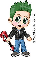 Anime Punk Rocker Boy Vector