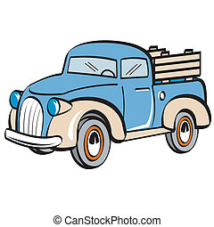 Antique collectible stake bed or moving truck perfect for a furniture moving company or landscaping business logo, business card or sign