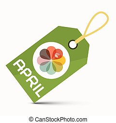 April Green Label with Colorful Abstract Flower Isolated on White Background
