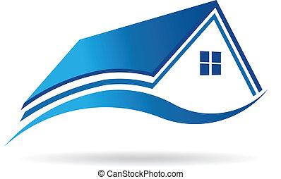 Aqua blue house real estate image. Vector icon