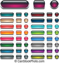 Web buttons set. Aqua vector buttons.