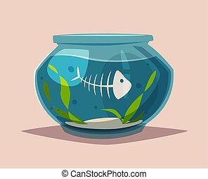 Aquarium with clear water. Cartoon vector illustration.