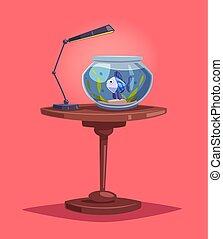 Aquarium with clear water. Cartoon vector illustration