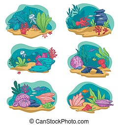 Aquarium with fish, corals and seaweed vector