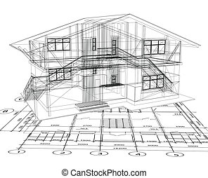 architecture blueprint of a house over a white background