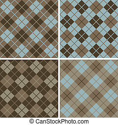 Vector seamless argyle-plaid patterns in blue and brown. Six inch repeat.