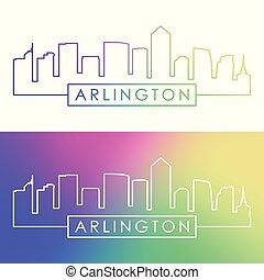 Arlington city skyline. Colorful linear style.