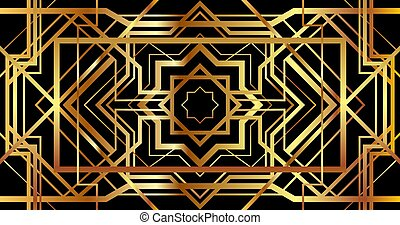 Art Deco banner with golden retro ornament. Horizontal background in gatsby style.
