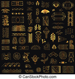 Art Deco Vintage Frames and Design Elements - hand drawn - in vector
