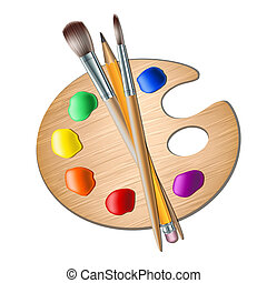 Art palette with paint brush for drawing. Vector illustration