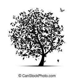 Art tree black silhouette for your design