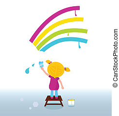 Blond hair girl painting colorful vibrant rainbow with paint brush. Vector Illustration.