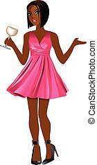 Asian Woman Pink Dress