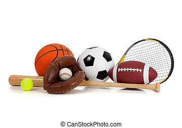 Assorted sports equipment including a basketball, soccer ball, tennis ball, baseball, bat, tennis racket, football and baseball glove on a white background