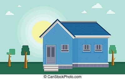 At morning house landscape vector art