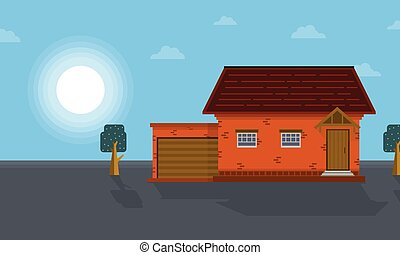 At morning house scenery vector art
