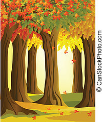 vector illustration of autumn forest background