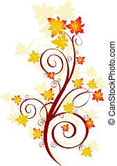 Decorative swirling autumn design. Vector
