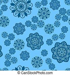 Azure and Blue snowflake seamless ornate ornament