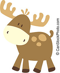childish ilustration of baby deer, very easy to dit, indvidual objects