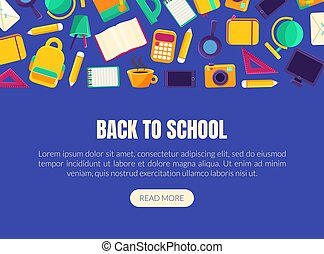 Back to School Landing Page Template with Educational Supplies Collection, Homepage with Different School Objects and Space for Text Vector Illustration