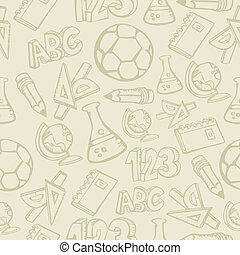 Back to School supplies seamless pattern