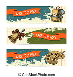 Back to school vector design. Hand drawn vintage banners