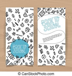 Back to school vertical flyer template with different school objects. School sale banners set with black line doodle supplies and stationery. Sketches for education poster design