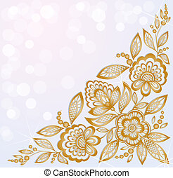 background decorated with beautiful carved corner gold flowers