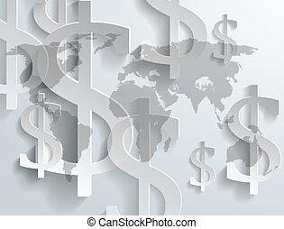 Background of dollar symbol on world map