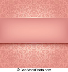Background pink ornamental fabric texture. Can be used for invitations to any of your ceremony. Vector eps 10