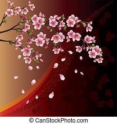 Background with cherry tree