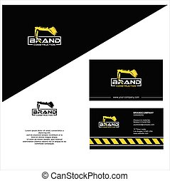 Backhoe Logo Design . Excavator Logo Business Card Template Stock Vector . Construction logo