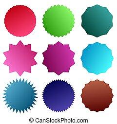 Badge, medal - Starburst, Sunburst Seal vector icon. Round, circle banner, Sticker or Vignette shape
