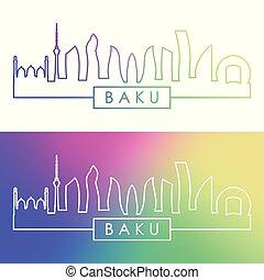 Baku city skyline. Colorful linear style.