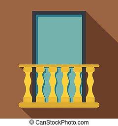 Balcony icon, flat style