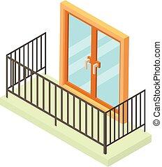 Balcony icon, isometric 3d style
