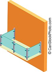 Balcony icon, isometric style