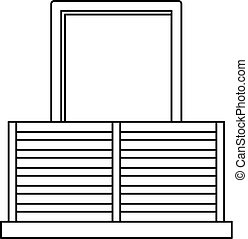 Balcony icon, outline style