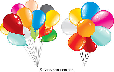 Two bunch of shiny party balloons -isolated on white