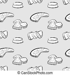 Bammy seamless pattern greyscale drawing